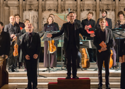 Oxford Bach Soloists with Ben Davies, James Gilchrist, Tom Hammond-Davies, Alexander Chance, and Cecilia Osmond (credit Nick Rutter)