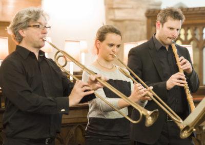 Stephen Cutting and Victoria Rule, trumpets; Joel Raymond, oboe (credit Nick Rutter)